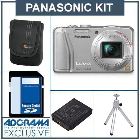 Panasonic LUMIX DMC-ZS20 14.1MP Digital Camera Kit - Silver - with 16 GB SD Memory Card, Camera Case, Table Top Tripod, Spare Battery MW BC-G10