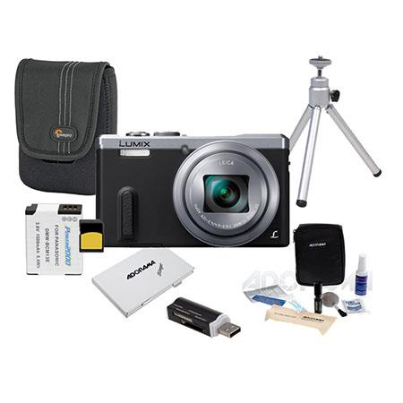 Panasonic Lumix DMC-ZS40 Digital Camera Silver - Bundle With 32GB Class 10 SDHC Card, Camera Case, Spare DMW-BCM13E Battery, Cleaning Kit, Table Top Tripod, SD Card Case, SD Card Reader