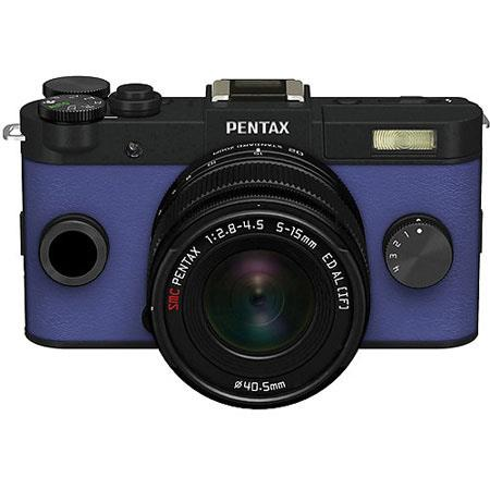 Pentax Q-S1 Mirrorless Digital Camera with 5-15mm Zoom Lens, Shake Reduction, 3-inch LCD Monitor, 5 FPS, Full 1080p h.264 HD video - Black / Royal Blue