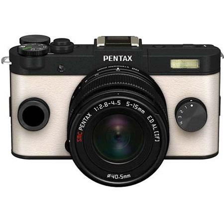 Pentax Q-S1 Mirrorless Digital Camera with 5-15mm Zoom Lens, Shake Reduction, 3-inch LCD Monitor, 5 FPS, Full 1080p h.264 HD video - Black / Cream