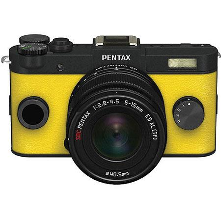 Pentax Q-S1 Mirrorless Digital Camera with 5-15mm Zoom Lens, Shake Reduction, 3-inch LCD Monitor, 5 FPS, Full 1080p h.264 HD video - Black / Canary Yellow