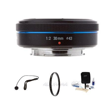 Samsung 30mm f/2.0 NX Pancake Lens for NX Series Digital Cameras - Bundle - with Tiffen 43mm UV Filter, Lens Cap Leash, Professional Lens Cleaning Kit