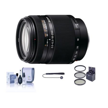 Sony 18-250mm f/3.5-6.3 DT ED Alpha A DSLR Mount Zoom Lens Kit, with Tiffen 62mm UV Filter, Lens Cap Leash, Professional Lens Cleaning Kit