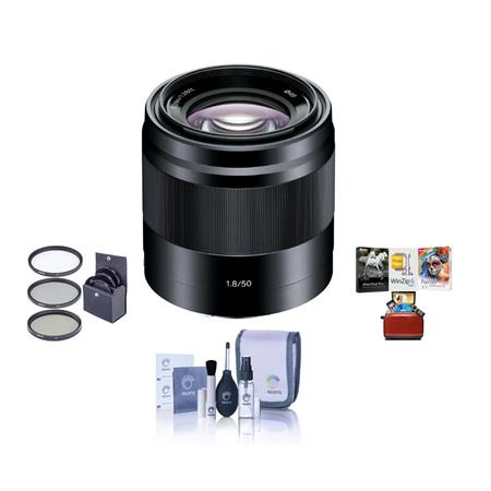 Sony E 50mm F/1.8 OSS E-Mount Lens, Black - Bundle With 49mm Filter Kit, Cleaning Kit, Mac Software Package