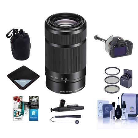Sony E 55-210mm f/4.5-6.3 OSS E-Mount Lens, Black - Bundle With 49mm Filter Kit, DSLR Follow Focus & Rack Focus, Soft...