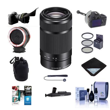 Sony E 55-210mm f/4.5-6.3 OSS E-Mount Lens, Black - Bundle With Flex Lens Shade, DSLR Follow Focus & Rack Focus, Peak...