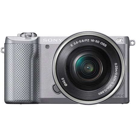 "Sony Alpha A5000 Mirrorless Digital Camera with 16-50mm E-Mount Lens, 20.1MP, 3.0"" LCD Display, HDMI/USB 2.0, Full HD Video, Built-In Wi-Fi with NFC, Silver"