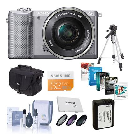 Sony Alpha A5000 Mirrorless Digital Camera with 16-50mm E-Mount Lens Silver - Bundle With 32GB Class 10 SDHC Card, LowePro REZO TLZ-10 Holster Case, Cleaning Kit, Tiffen 40.5 Filter Kit, Spare NP- FW50 Battery, Sunpack Flexpod Pro Gripper, SD Card Case