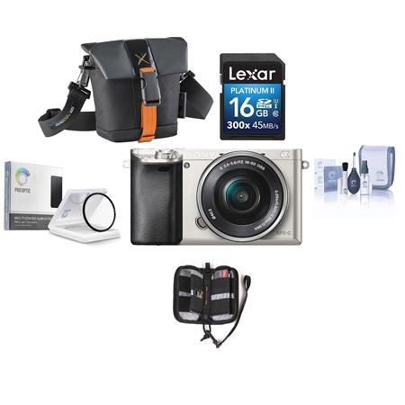 Sony Sony Alpha A6000 Mirrorless Digital Camera with 16-50mm E-Mount Lens, Silver - BUNDLE - With Camera Bag, 16GB Class 10 SDHC Card, Pro-Optic 40.5mm MC UV Filter, Cleaning Kit, and Memory Card Case