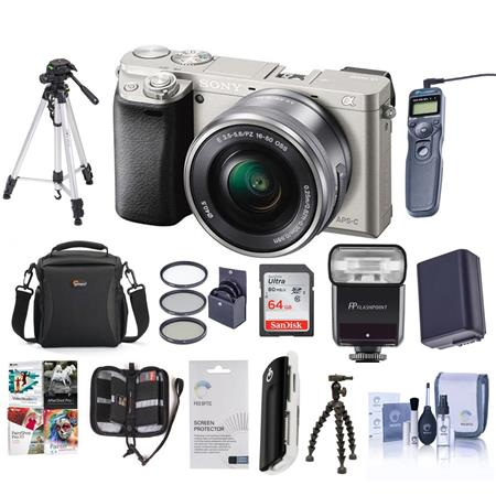 Sony Sony Alpha A-6000 Digital Camera with 16-50mm E-Mount Lens, Silver - BUNDLE - With Camera Bag, 64GB CL 10 SDHC Card, New Leaf 3 Year (Drops & Spills) Warranty, Spare Battery, Sunpack Tripod, Pro-Optic 40.5 MC UV Filter, Tiffen 40.5 CPL Filter, Cleani