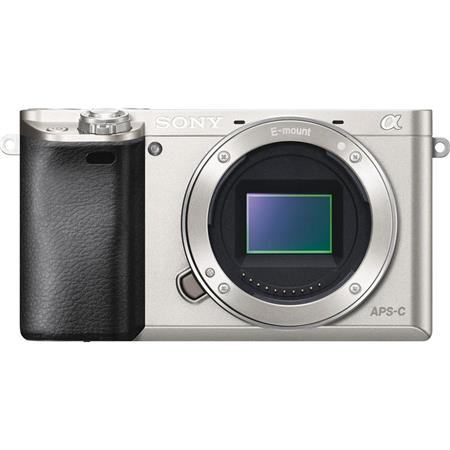 """Sony Alpha A6000 Mirrorless Digital Camera Body, 24.3MP, 3.0"""" LCD Display, Tru-Finder 0.39"""" 1,440k-Dot OLED EVF, Full HD 1080i/p Video, Built-in Wi-Fi with NFC, 11 FPS, Silver"""