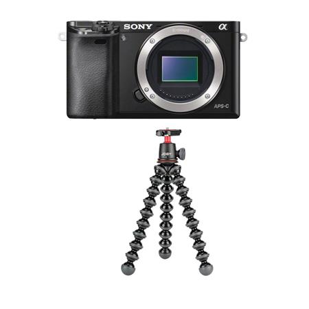 Sony Alpha A6000 Mirrorless Camera Body, Black - With Joby GorillaPod 3K Kit, Black
