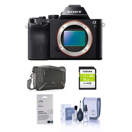 Sony Alpha a7 Mirrorless Digital Camera, Full Frame 24MP, Bundle With Lowepro TLZ-20 Holster Case 16GB UHS-1 Class 10 HS Card, Cleaning Kit, LCD Screen Protector 3