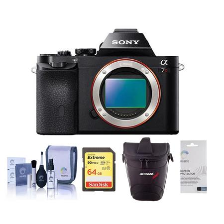 Sony Alpha a7R Mirrorless Digital Camera, Full Frame 36MP, 2.4 million - Bundle With Lowepro TLZ-20 Holster Case, 64GB UHS-1 Class 10 HS Card, Cleaning Kit, LCD Screen Protector 3