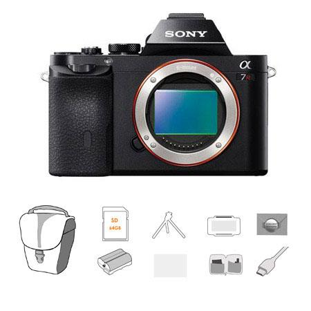 Sony Alpha a7R Mirrorless Digital Camera, Full Frame 36MP, Bundle With Lowepro TLZ-20 Holster Case, 64GB UHS-1 Class 10 HS Card, Spare battery, New Leaf 3 Year (Drops & Spills) Warranty, Sunpack Tripod, Cleaning Kit, LCD Screen Protector 3