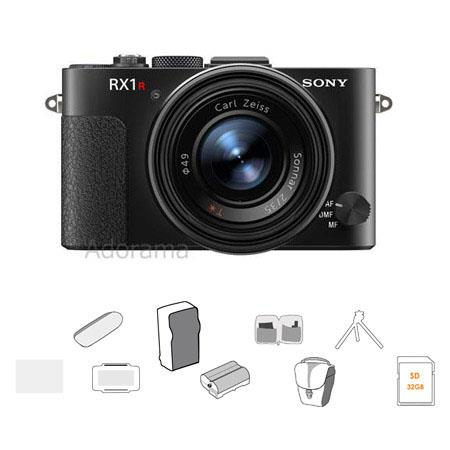 Sony Cyber-shot DSC-RX1R Full Frame Digital Camera, 24.3MP, Bundle With 32GB SDHC Class 10 UHS1 Card, Lowepro Compact Case, Spare Battery, Cleaning Kit, SD Card Case, Screen Protector, Card Reader, PT-80 Battery Charger, Table Top Tripod