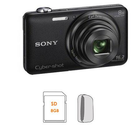 Sony Cyber-shot DSC-WX80 Digital Camera, Black - Bundle - with 8GB SDHC Memory Card, Camera Case