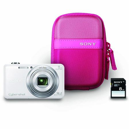 Sony Cyber-shot DSC-WX80 Digital Camera, White - Bundle - with Case & 8GB Memory Card