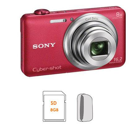 Sony Cyber-shot DSC-WX80 Digital Camera, Red - Bundle - with 8GB SDHC Memory Card, Camera Case