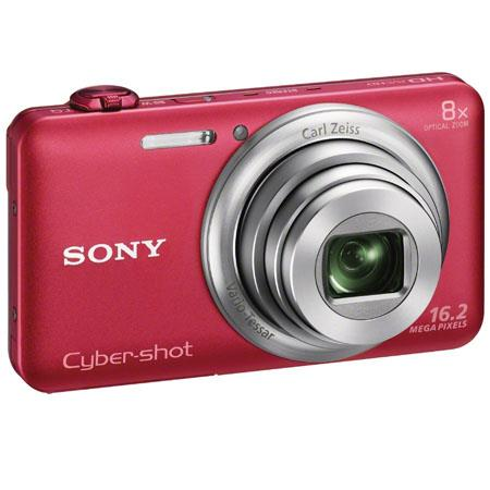 Sony Cyber-shot DSC-WX80 Digital Camera, Red, 16.2 Megapixel, Carl Zeiss 8x Optical Zoom Lens, Full HD Video, WiFi Sharing, HDMI