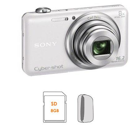 Sony Cyber-shot DSC-WX80 Digital Camera, White - Bundle - with 8GB SDHC Memory Card, Camera Case