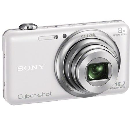 Sony Cyber-shot DSC-WX80 Digital Camera, White, 16.2 Megapixel, Carl Zeiss 8x Optical Zoom Lens, Full HD Video, WiFi Sharing, HDMI