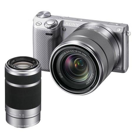 Sony Alpha NEX-5R Camera Kit with Sony 18-55mm F3.5-5.6 OSS Lens, Silver - Bundle with Sony 55-210mm f/4.5-6.3 OSS E-mount NEX Series Camera Lens