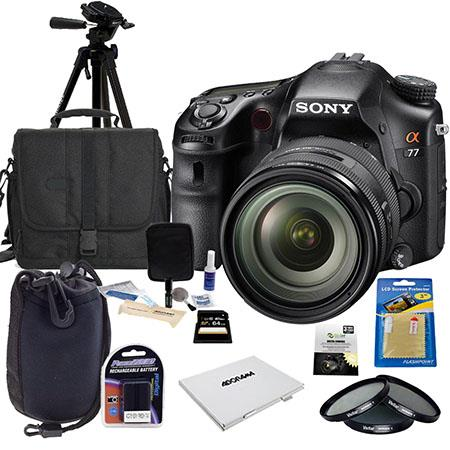 Sony Alpha DSLR SLT A77 Digital Camera with 16-50mm f/2.8 DT Zoom Lens - Bundle - with 64GB SD Memory Card, Camera Bag, Spare Battery, New Leaf 3 Year (Drops & Spills) Warranty, Cleaning Kit, SD Card Case, Screen Protector, Tripod, 72mm Filter Kit, Lens P
