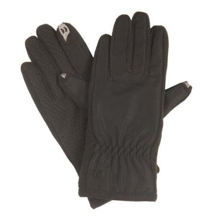 Isotoner Smartouch Women's Gloves, Black, Pair - Maxtix Nylon with Gathered Wrist image
