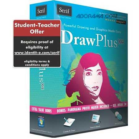 Serif DrawPlus X4 Graphics Studio Retail Student and Teacher Edition Software for Windows XP/Vista/7, CD-ROM