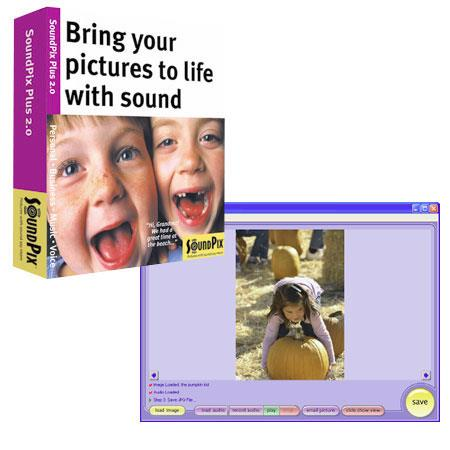 SoundPix Plus 2.0, Audio Capture & Editing Software for Still Digital Photos, for Windows.