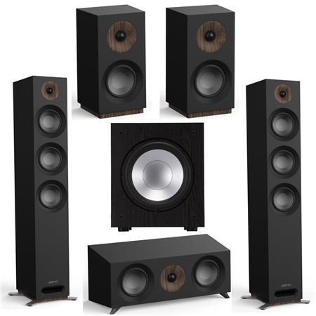 Jamo S 809 Floorstanding Dolby Atmos Ready Speakers Black, Pair - Bundle With S 83 CEN Center Speaker Black, S 801 Bookshelf...