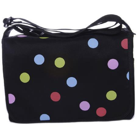 Jill.e Camera Carryall/ Messenger Bag with Adjustable Strap - Black with Multi-Colored Polka-Dots image