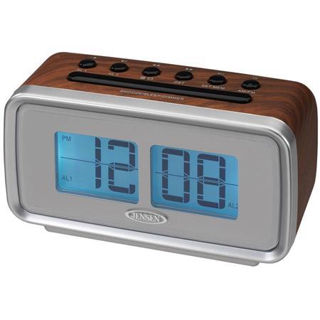 jensen jcr 232 am fm dual alarm clock with digital retro flip dis. Black Bedroom Furniture Sets. Home Design Ideas