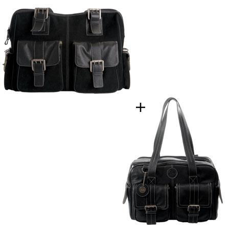 Jill.e Combo Weatherproof Large Black Rolling Camera Bag, (Leather & Black Suede) and Weatherproof Medium Black Leather Camera Bag (Cream Piping Trim Exterior) image
