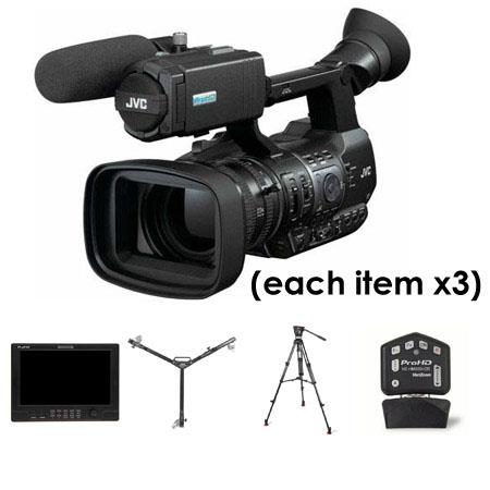 "JVC Three Camera Complete Studio Package - Three GY-HM600 ProHD Camcorders, Three JVC HZ-HM600VZR Remote Lens Controllers, Three JVC DT-X91F ProHD 8.9"" Full Featured Monitors, Three Sachtler 1011 Carbon Fiber Tripod Systems, Three Davis & Sanford Dollies"