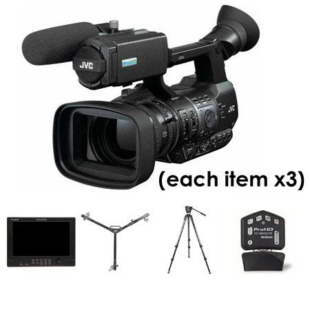 "JVC Three Camera Complete Studio Package - Three JVC GY-HM600 ProHD Camcorders, Three JVC HZ-HM600VZR Remote Lens Controllers, Three JVC DT-X91F ProHD 8.9"" Full Featured Monitors, Three Sachtler 1013 Carbon Fiber Tripod Systems, Three Davis & Sanford Dollies"