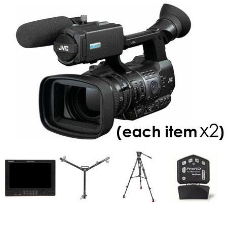 JVC Complete Studio Package - Two GY-HM600 ProHD Camcorders, Two HZ-HM600VZR Remote Lens Controllers, Two DT-X91C 8.9