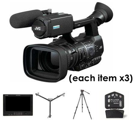 JVC Three Camera Complete Studio Package - Three GY-HM600 ProHD Camcorders, Three HZ-HM600VZR Remote Lens Controllers, Three DT-X91C 8.9