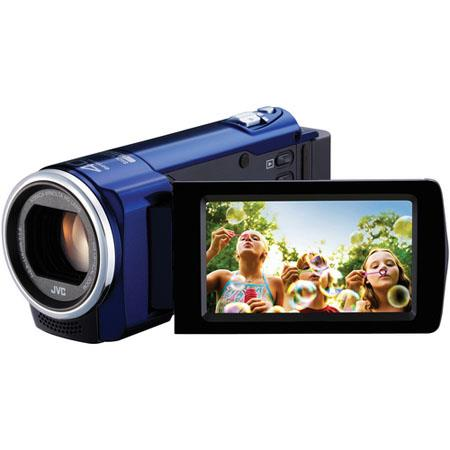 "JVC GZ-E10 1.5MP High Definition Memory Camcorder, 1/5.8"" CMOS, 40x Optical/70x Dynamic/200x Digital Zoom, Blue"
