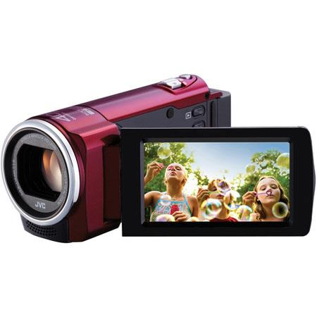 "JVC GZ-E10 1.5MP High Definition Memory Camcorder, 1/5.8"" CMOS, 40x Optical/70x Dynamic/200x Digital Zoom, Red"