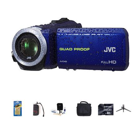 JVC Everio GZ-R10 Quad-Proof Full HD Camcorder Blue - Bundle With 32 GB Class 10 SDHC Card, Video Bag, Cleaning Kit, Memory Card holder, Table Top Tripod, Screen Protector