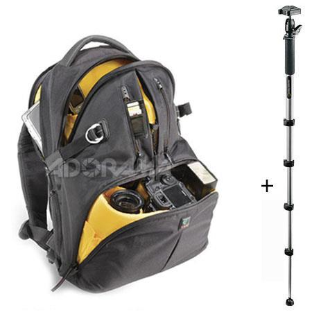 Kata DR-466 Digital Rucksack for 2 Digital SLR Systems - Black - with National Geographic Tundra Monopod with QR Ball Head image