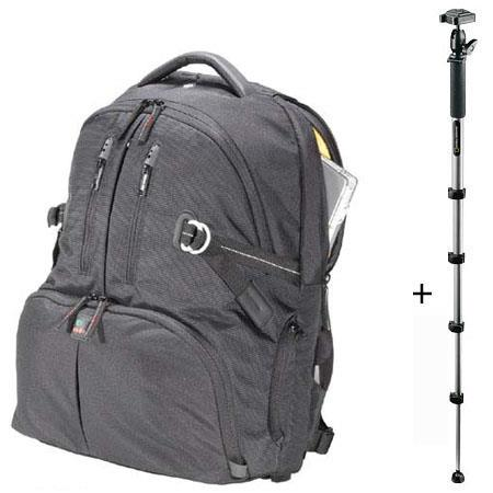 """Kata DR-467 Digital Rucksack for 2 Digital SLR Systems with 17"""" Laptop - Black - with National Geographic Tundra Monopod with QR Ball Head image"""