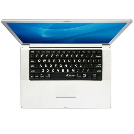 KB Covers LT-P-B Large Type (Black) Keyboard Cover with Silver Keys, White Lettering Keys for MacBook Pro and Powerbook