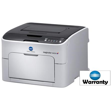 Konica 1600W Magicolor Color Laser Printer, 1200x600dpi, 20ppm Print Speed - Bundle With Konica Minolta Magicolor 1600W and 1650EN 2-Year Extended Exchange Warranty