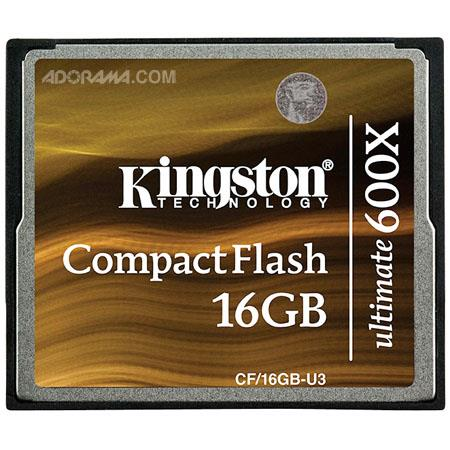 Kingston Technology 16GB CompactFlash Ultimate 600x Memory Card