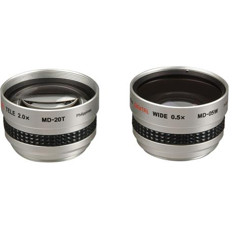 Kenko Two-lens Set with MD-05W, 0.5x Wide-Angle Lens & MD-20T, 2.0x Telephoto Lens, 37mm - with 30.5mm & 30mm Step Rings