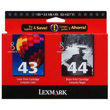Lexmark Twin-Pack #44XL Black Print Inkjet Cartridge (18Y0144) & #43XL Color Print Cartridge (18Y0143) for Various Printers