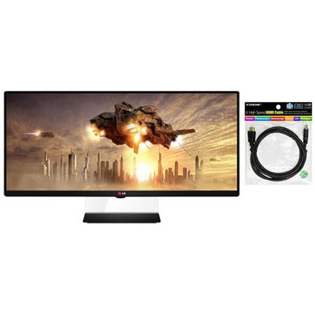 "LG Electronics 34UM65-P 34"" Class 21:9 UltraWide Full HD 1080p IPS Monitor, 21:9 Aspect Ratio, - Bundle With HDMI 1.4 Audio/Video Cable for HDTV - 6 Feet"